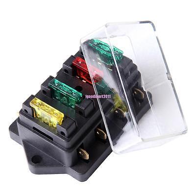 12v 1 x 4 way blade fuse box holder 12v 24v fuse holder box block 4 way car vehice circuit automotive  12v 24v fuse holder box block 4 way car