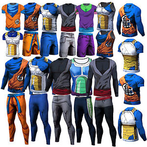 Hommes-Dragon-Ball-Son-Goku-Vegeta-T-Shirt-Short-Long-Pantalons-Cyclisme-Top-Tee