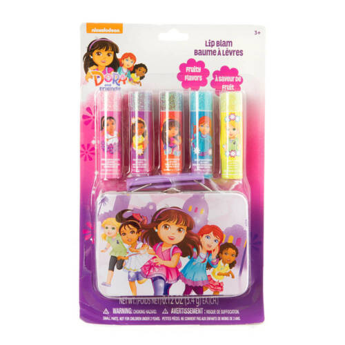 Nickelodeon Dora and Friends Lip Balm Set of 5 with Tin Carrying Case NEW