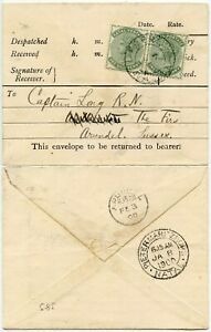 NATAL-1900-PRINTED-TELEGRAPH-ENV-FRERE-PMK-2-x-1-2d-to-CAPT-LONG-NAVY-BOER-WAR