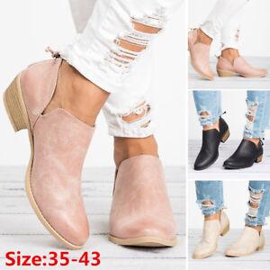 Autumn-Womens-Booties-Martin-Boots-Casual-Low-Heel-Ankle-Boots-Heel-Zip-Shoes