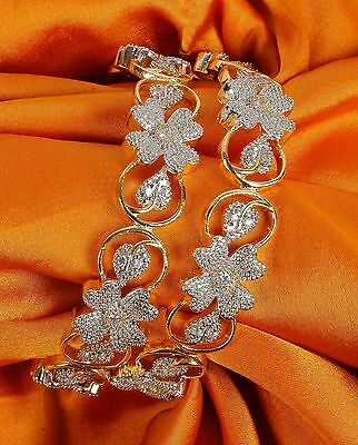 125 Indian Bollywood Zircons Made Bangles/Bracelet Set American Diamond Jewelry