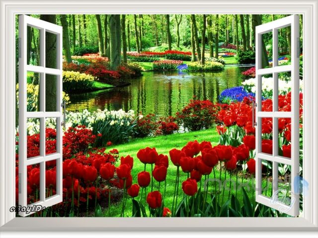 Secret Garden Tulip 3D Window View Removable Wall Stickers Decal Home decor Art