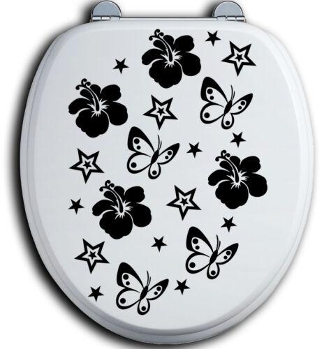 40 tapa de inodoro baño baño para inodoro pegatinas hibisco flores mariposas B