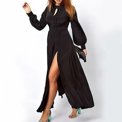 8802-16 - 2X 3X Plus Size Long Sleeves Pleated Slit Evening Cocktail Maxi Dress