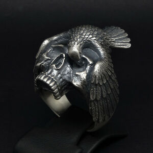 Memento-Mori-Skull-Raven-Gothic-Biker-Ring-Sterling-Silver-925-Size-by-UNIQABLE