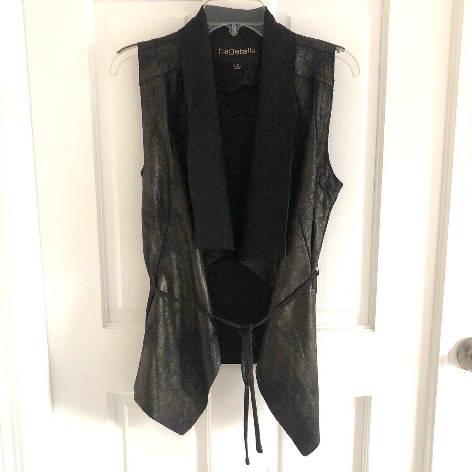 Bagatelle Women's Black Faux Leather Open Front Drape Vest Jacket Wrap