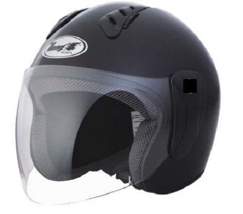 Open Face Helmet MATTE Black - DOT Approved - Adult Medium Motorcycle Helmet