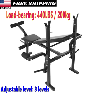 Weight-Bench-Barbell-Lifting-Press-Gym-Equipment-Exercise-Adjustable-Inclines