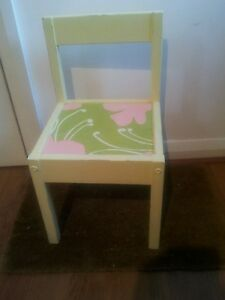 Children-Distressed-Girl-Decoupage-Chair-Handpainted-pale-yellow-Green-amp-pink