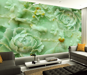 3D Green Peony Flower Relief Paper Wall Print Wall Decal Wall Deco Indoor Murals