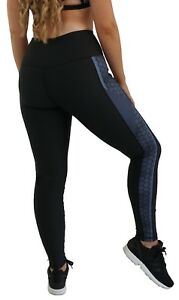 Leggings Active Waist Sculpt High Stripe Body Uk12 Fitness Gym 14 Hex Ladies Oz40Rwnq4