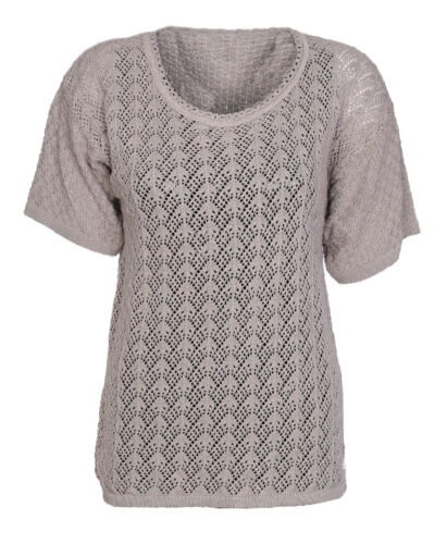 Femme crochet tricot court demi manches jumpers top femme pull-over t shirt 12-14