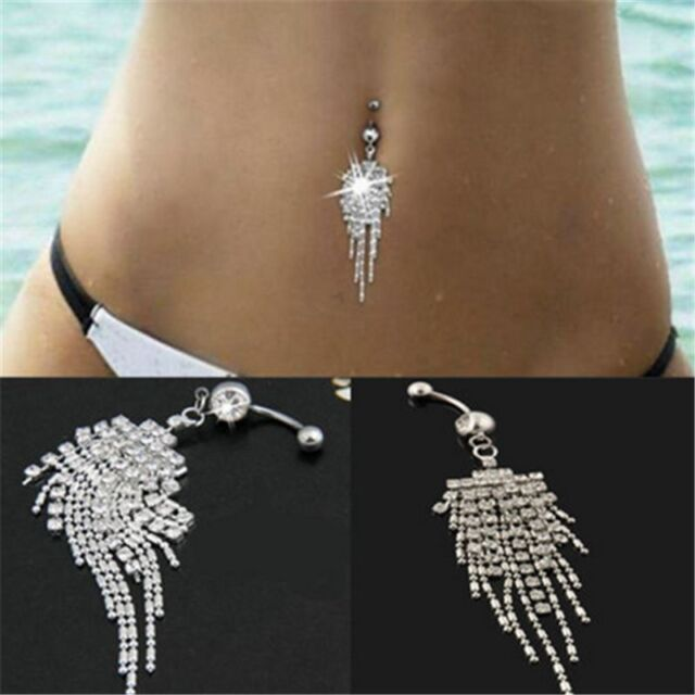 Hot New Crystal Tassel Dangle Navel Belly Button Ring Bar Body Piercing Jewelry