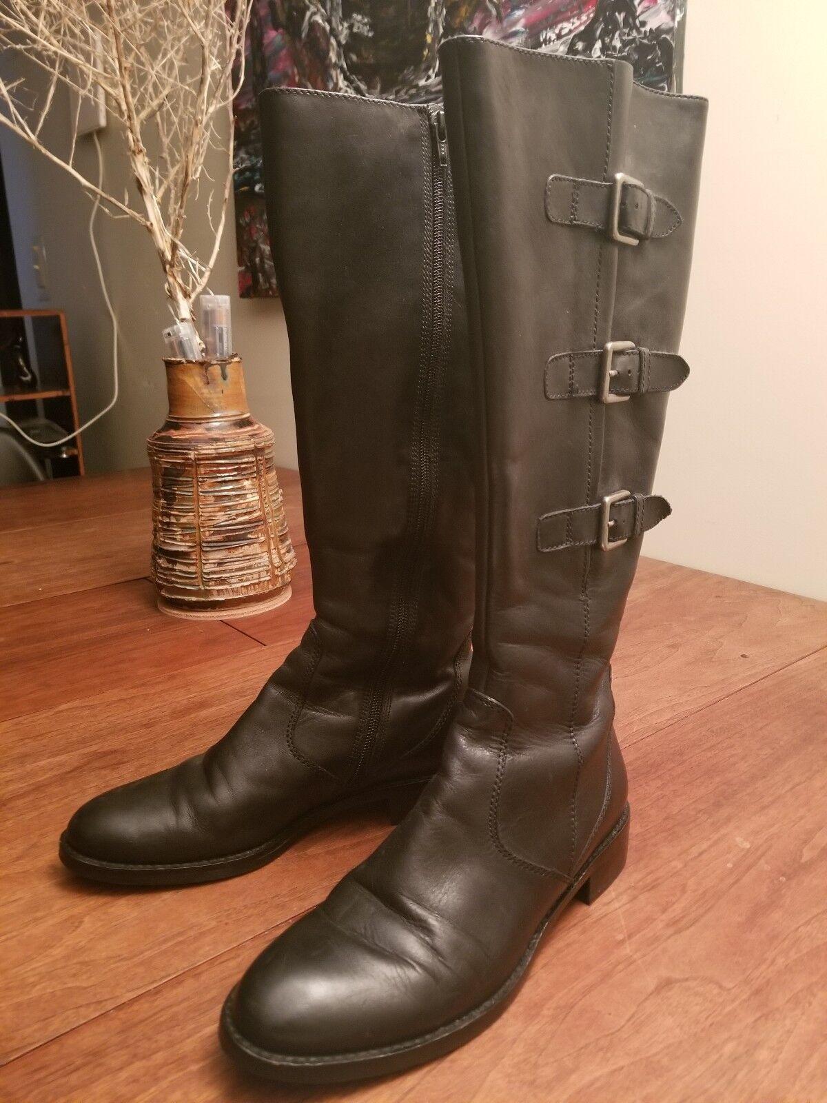 Ecco Hobart Mujer de cuero negro con hebilla de Cremallera Rodilla Alto botas De Montar 8-8.5 EU de EE. UU. 39