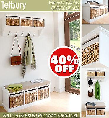 Tetbury White Storage Bench With, Tetbury Furniture White Storage Bench With Brown Baskets And Cushion