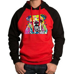 New Men/'s Neon English Bulldog Raglan Hoodie Sweater Bright Colorful 90/'s Dog