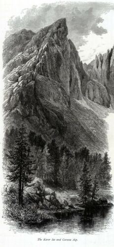 Nova Levante.Welschnofen.Bolzano Lago di Carezza Karersee + Passepartout.1878