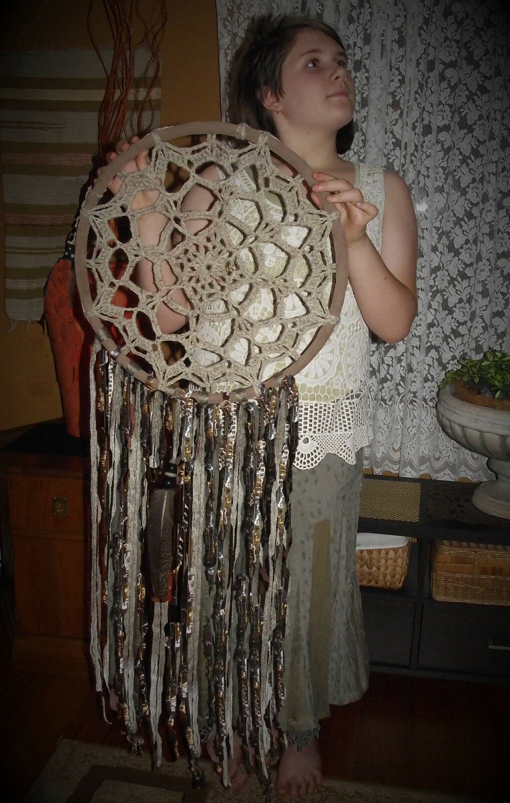 Extra large dreamcatcher wall hanging ombre neutral tones boho wedding decor art