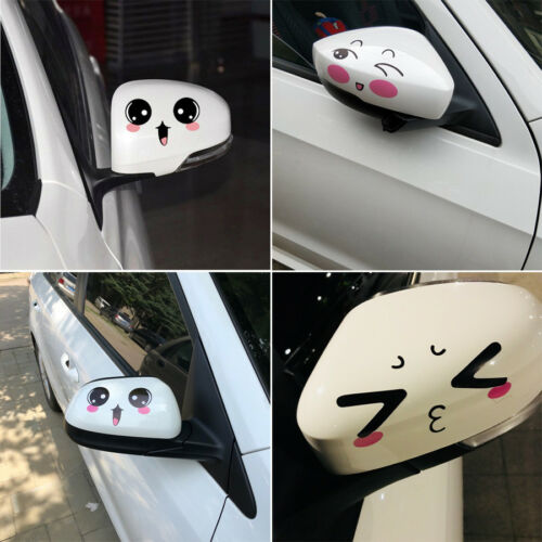 1Pair Cute Smiling Expression Smile Face Cartoon Car Sticker Window Body Mirror