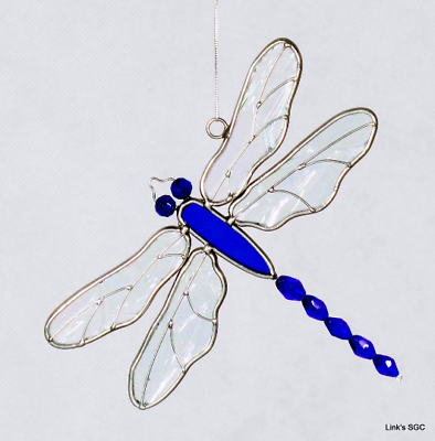 """Royal Blue Anchor Sun Catcher 4/"""" X 6/"""" GE287 STAINED GLASS"""