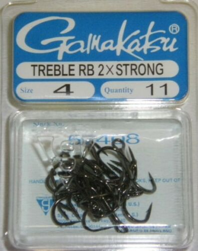 GAMAKATSU TREBLE HOOK ROUND BEND 2X STRONG #4 57408 NSB