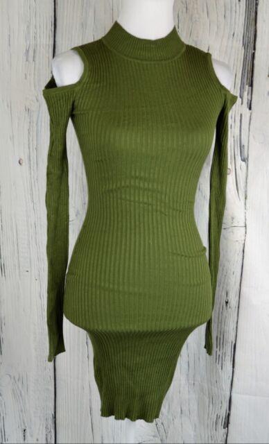6f27dca49e Planet Gold Junior S Cold-Shoulder Sheath Dress Tunic Bodycon Rib Knit Olive