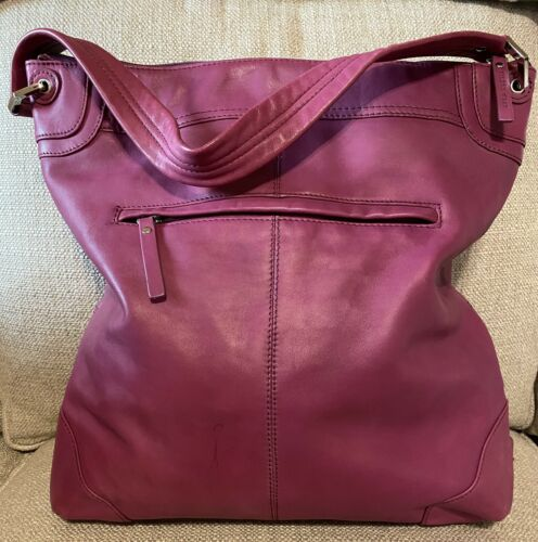 EILEEN WEST Fuchsia Leather Hobo, Shoulder Bag - X
