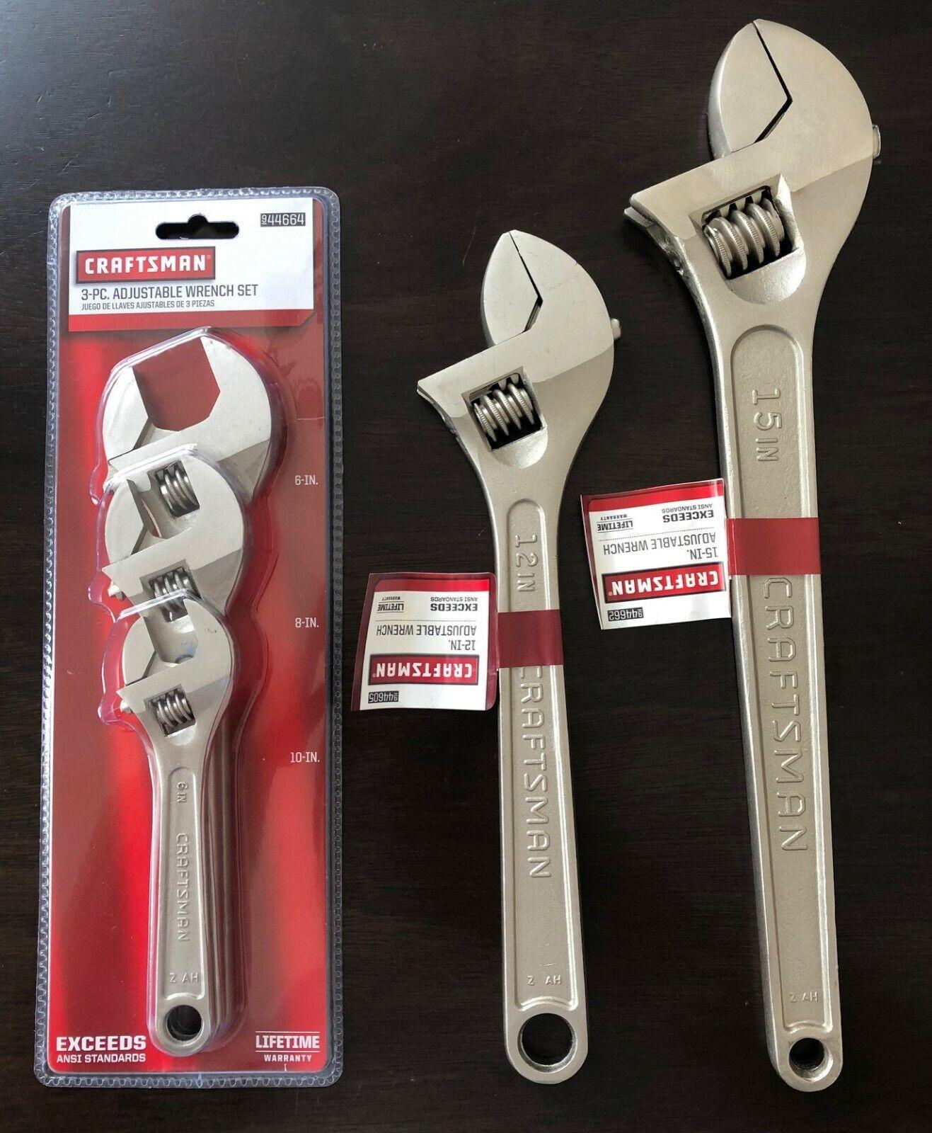 Craftsman 5-Piece Alloy Steel Adjustable Wrench Set (6 , 8 , 10 , 12  15) NEW