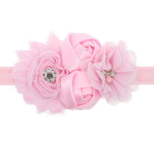 Cute Baby Girls Lace Sunflower Headband Rose Flowers Pearl Rhinestone Hair Band