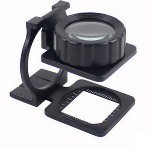 20x Folding Linen Tester Loupe Whole Metal Thread Counter Magnifier Cloth Test Ebay