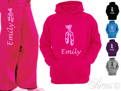 PERSONALISED BALLET SHOES KIDS CHILDRENS DANCE HOODY HOODIE + PANTS AGE 5-6