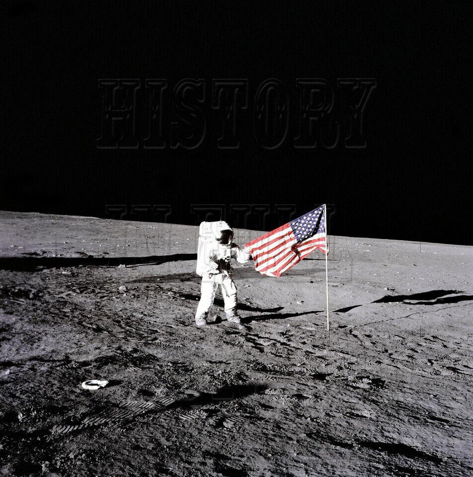 Apollo 12 Charles  Pete  Conrad Unfurls Flag EVA Moon photo - GPN-2000-001104