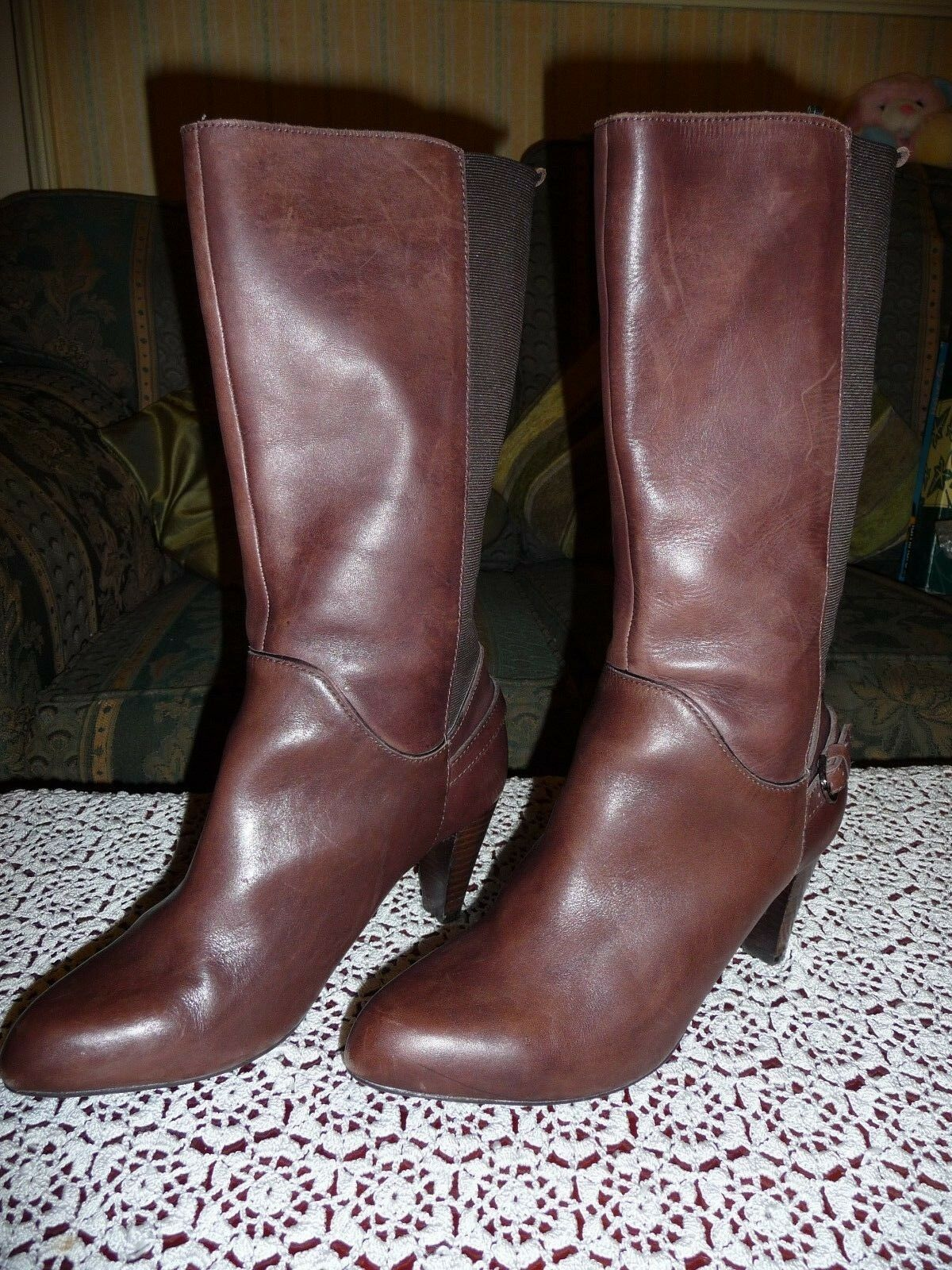 FOOTGLOVE (NOT M&S) WOMEN'S CALF LENGTH BROWN BOOTS SIZE 6.5'WIDER' FIT LEATHER