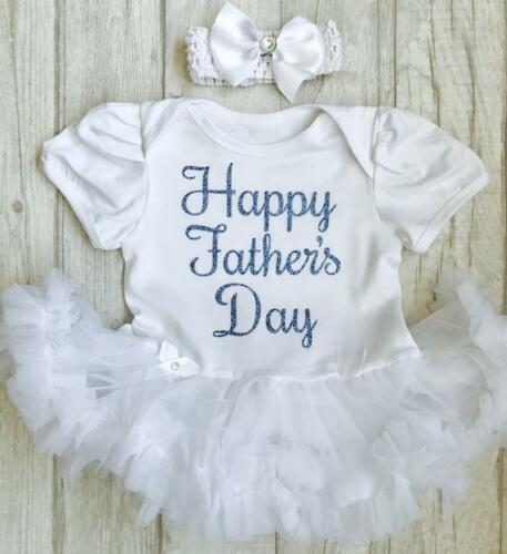Blue Glitter Happy Fathers Day White Dress Newborn Gift FATHERS DAY TUTU ROMPER