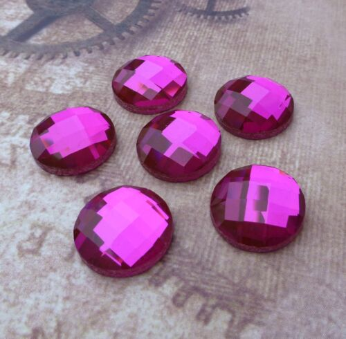 6 pcs Pink Glass Faceted Round Cabochon