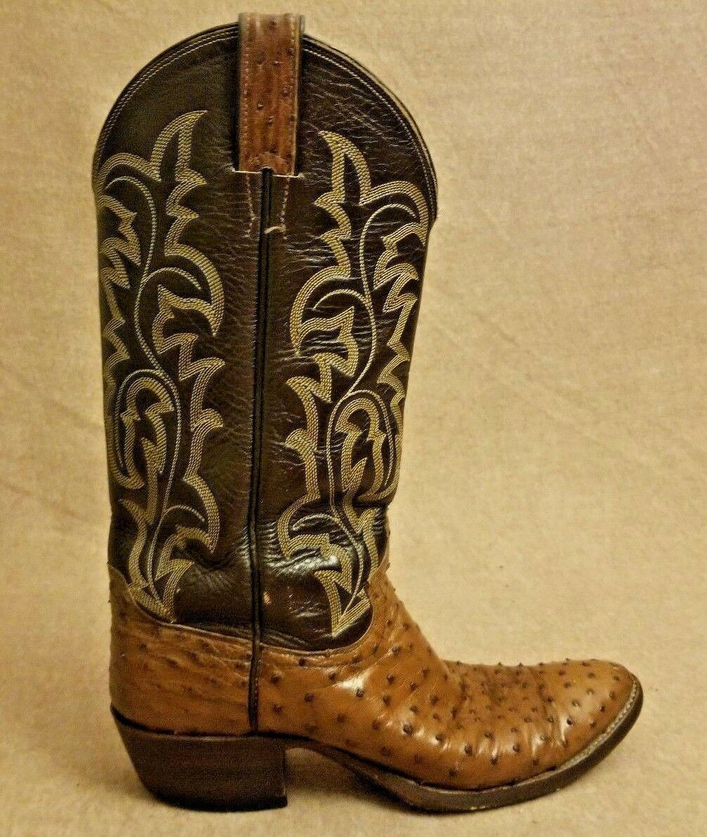 Justin 08713 Men Brown Exotic Full Quill Ostrich Western Cowboy Boots Size 8 B