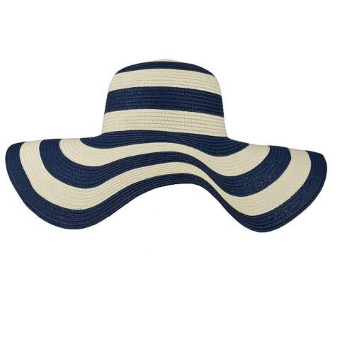 Lux Accessories Straw Hat Blue White Stripe Wide Brim Fedora Floppy Cloche Derb