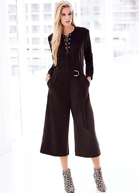 Kaleidoscope Lace Up Culotte Jumpsuit Brown Size LF086 EE 16