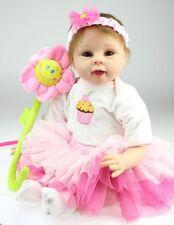 Full Body Silicone Reborn Baby Girl Real Doll 22 Inch Babies Dolls Vinyl Newborn