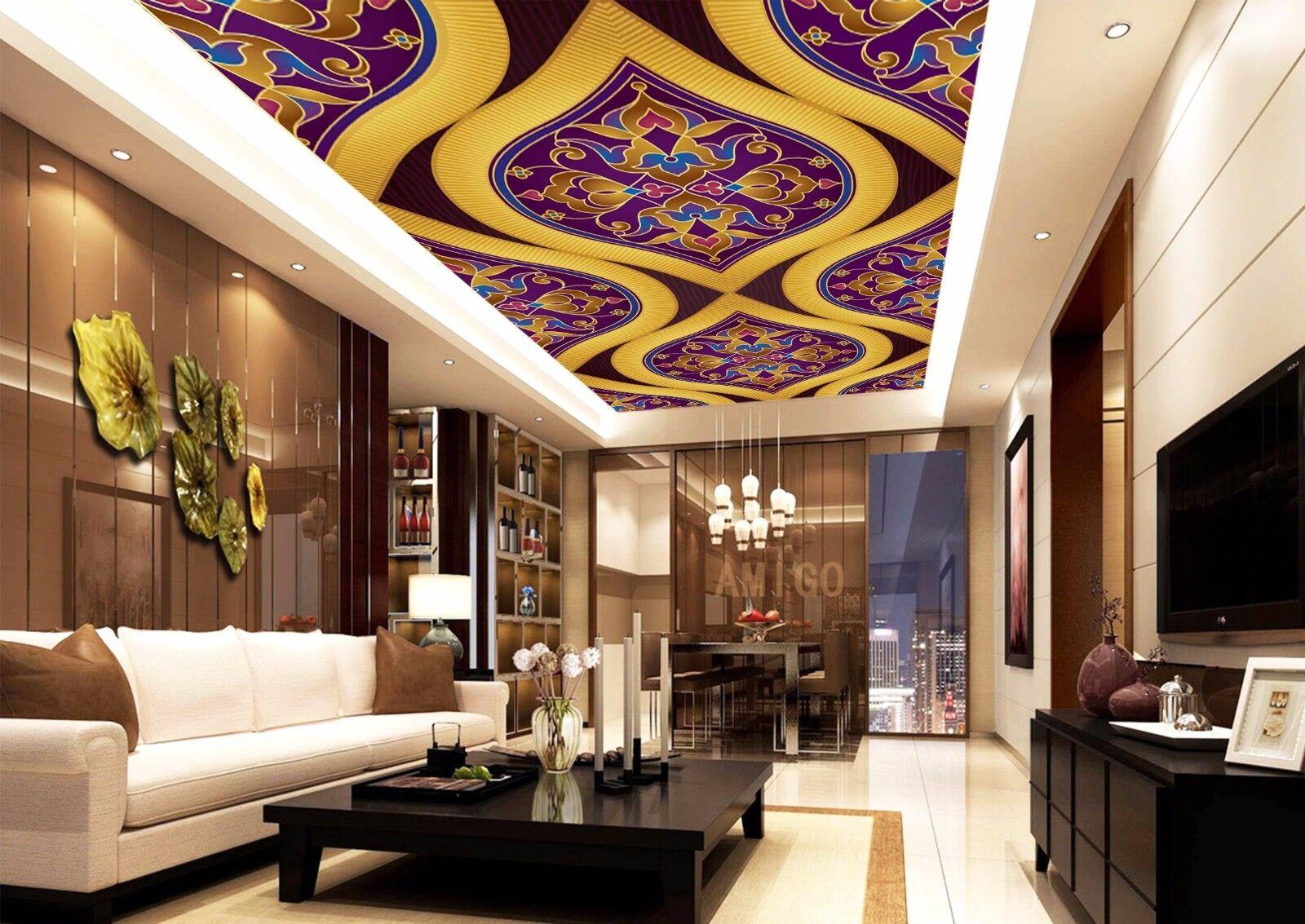 3D gold Lines Ceiling WallPaper Murals Wall Print Decal Deco AJ WALLPAPER AU