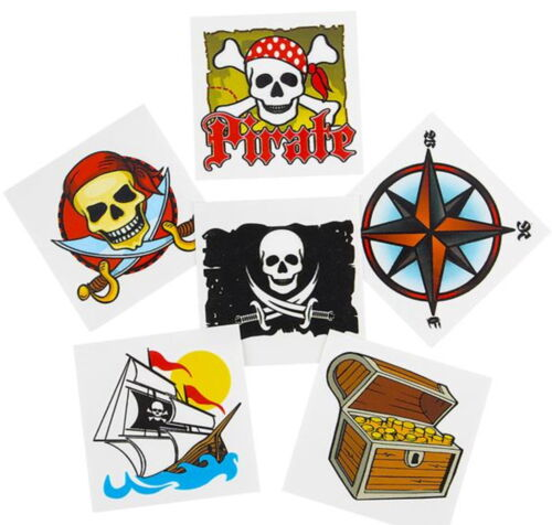 """36 Pirate Theme 2/"""" Tattoos Birthday Party Favor Goody Bags Bulk  Carnival"""
