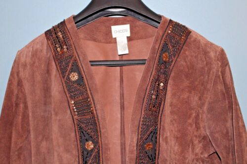 Embroidered Women's Leather Chico's Brown Sequined Full Blazer leather 1 size qF4nt
