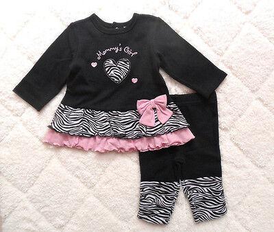 New 2pcs Baby Girl Infant Clothes Princess zebra striped T-shirt+ Pants 0-12M