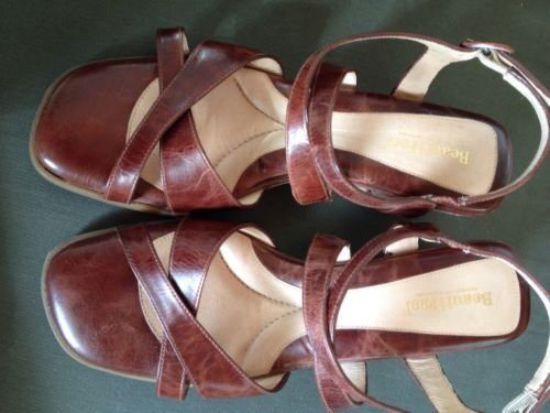BEAUTIFEEL Leather WEDGE SANDALS COMFORT Heel COFFEE BROWN 41 10.5-11 Worn Once