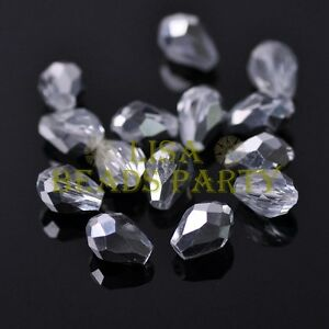 New-50pcs-7X5mm-Teardrop-Faceted-Crystal-Glass-Spacer-Loose-Beads-Half-Silver