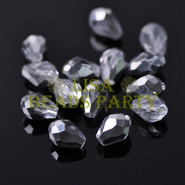 New 50pcs 7X5mm Teardrop Faceted Crystal Glass Spacer Loose Beads Half Silver
