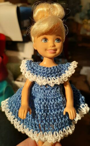 Hand crocheted Chelsea and Kelly Mattel doll clothes cornflower blue