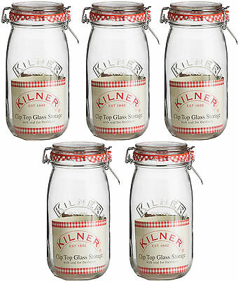 Set Of 5 2 Litre Vintage Kilner Glass Clip Top Spice Preserving Jam Storage Jars
