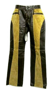 STEVE-MADDEN-Gabby-Brown-amp-Tan-Suede-Distressed-Boot-Cut-Rocker-Leather-Pants